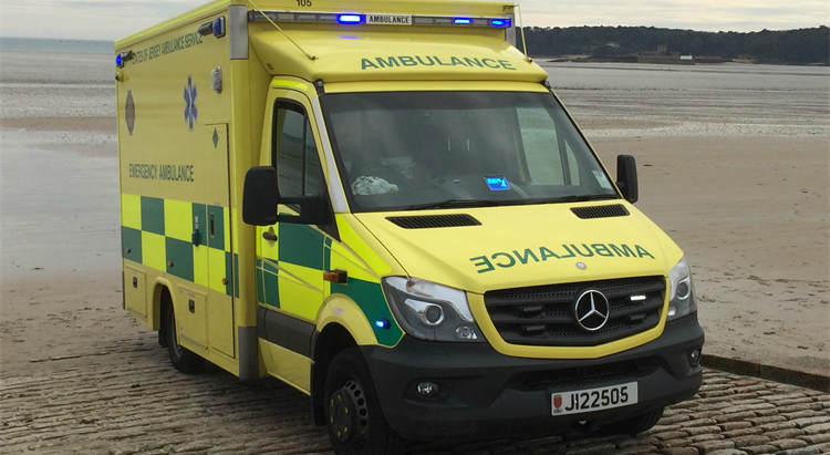 Ambulance on slipway in Jersey image