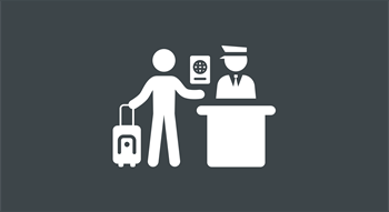 Icon of person walking through a customs area