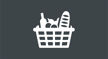 Food in supermarket trolley icon