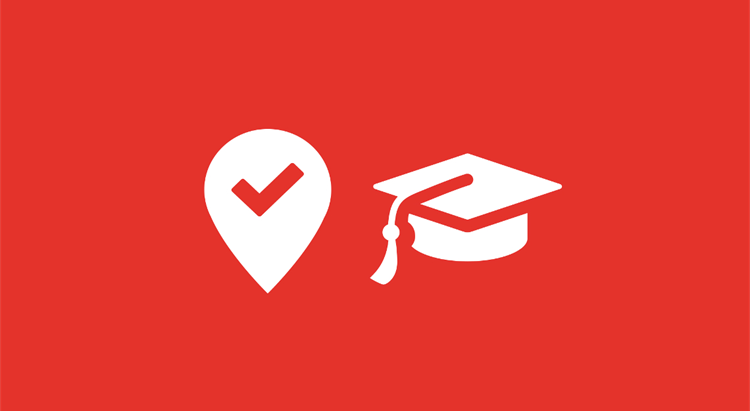 Icons with location pin and graduation hat