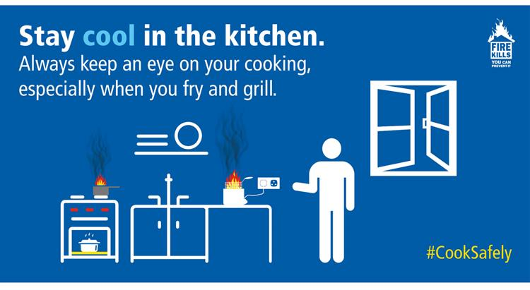 instructions on how to be fire safe while cooking