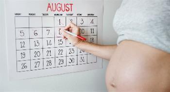Pregnant woman filling in calendar