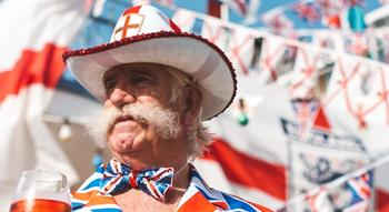 Man dressed in Union Flag outfit