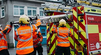 Fire engine and firemen