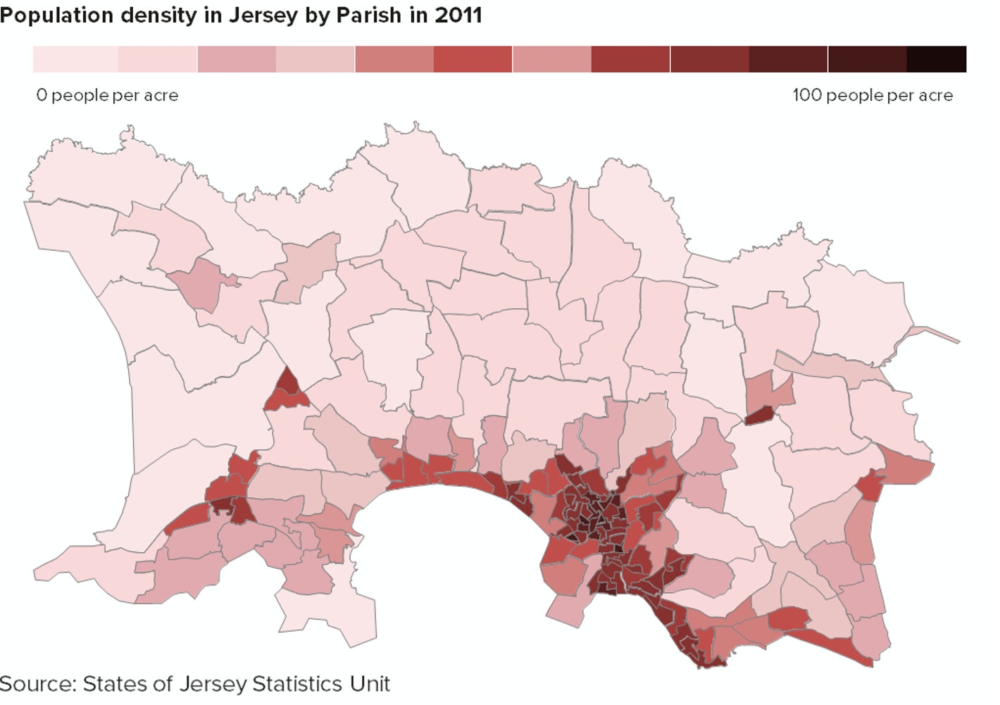 Chart showing population density in Jersey by Parish in 2011