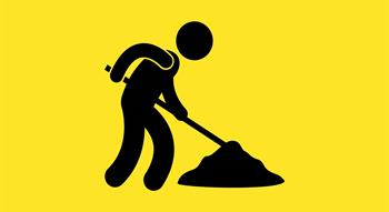 roadworks icon person digging