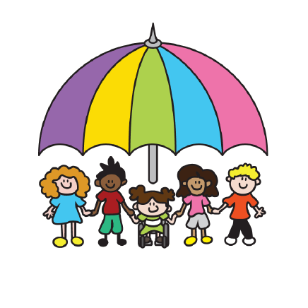 Rounded version of the children under an umbrella image